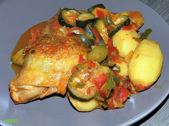 recette Cuisse de poulet cuite dans ses légumes