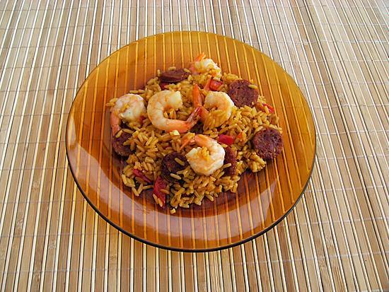 recette Rizotto  crevettes et chorizo