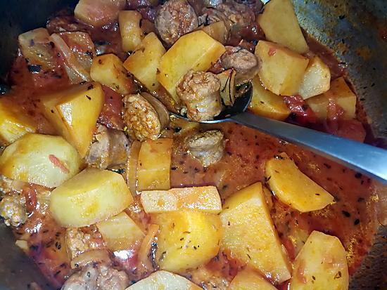 recette Ragoût de saucisse de Toulouse au pommes de terres