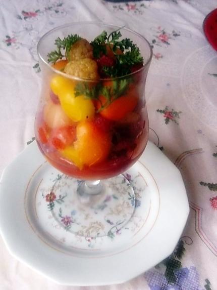 recette verrine tomate  melon  framboises  ;  du  blog   kilométre zéro