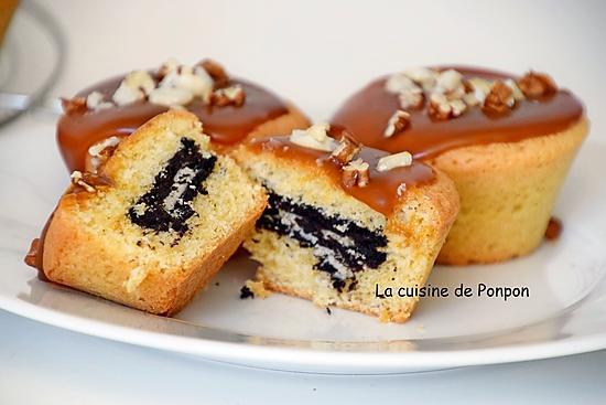 recette Muffin nappé de caramel et son coeur en oréo