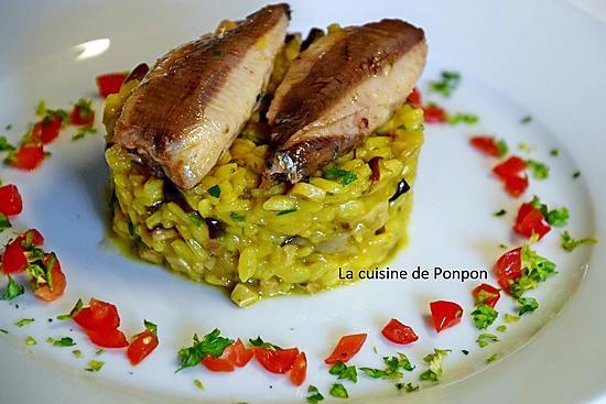 recette Risotto aux champignons des bois accompagné de sardines à l'huile d'olive