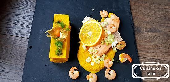 recette Trio de poisson ,purée et coulis de fenouil à l'orange et curcuma ( recette light et pleine de goût !)