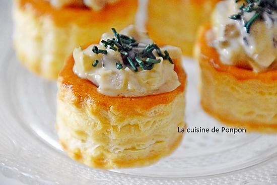 recette Mini zakouski feuilleté de duxelles de champignons des bois et spiruline