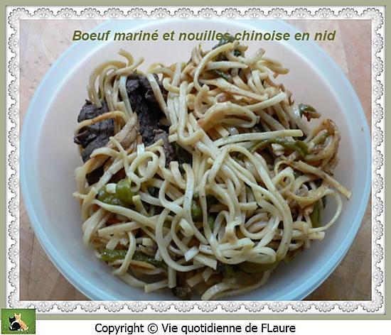 recette Bœuf mariné et nouilles chinoises en nid