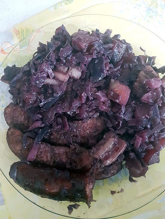 recette Chou rouge à ma façon et saucisse Montbéliard