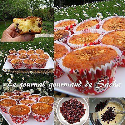 recette Muffins aux cranberries et amandes amère