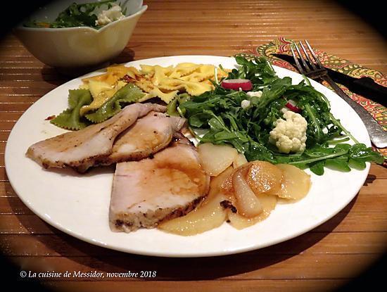 recette Rôti de porc et poires caramélisées +