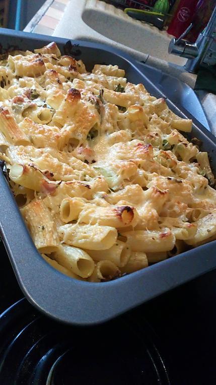 recette Gratin de pates, poireaux - jambon et parmesan