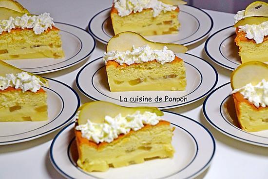 recette Gâteau magique aux poires flambées à la liqueur de poire Williams