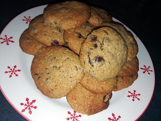 recette Cookies a la farine de châtaigne éclats de marron glacés et pépites de chocolat