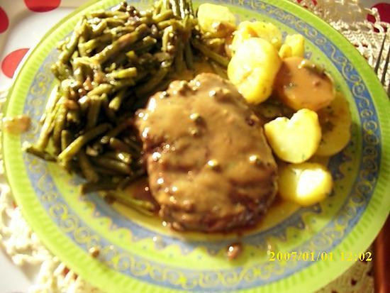 recette steack au poivre vert