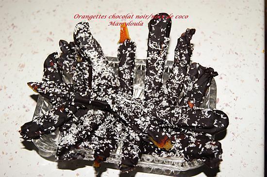 recette Orangettes chocolat noix de coco
