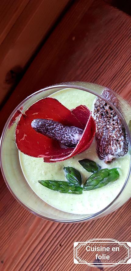 recette Panna cotta d'asperges vertes aux morilles et viande des grisons