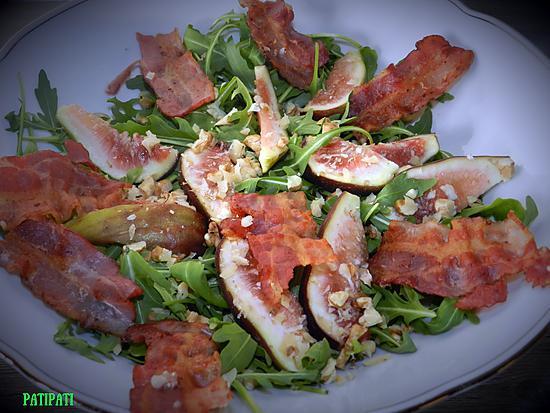 recette Salade de roquette aux figues et bacon