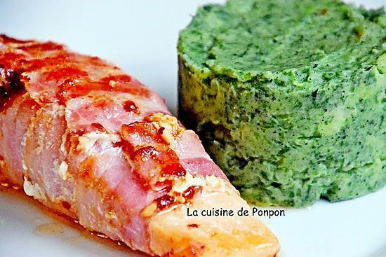 recette Pavé de saumon garni de fines tranches de lard