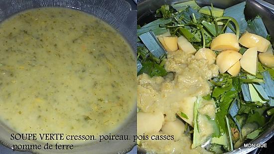 recette POTAGE VERT CRESSON POIREAU PUREE DE POIS CASSES