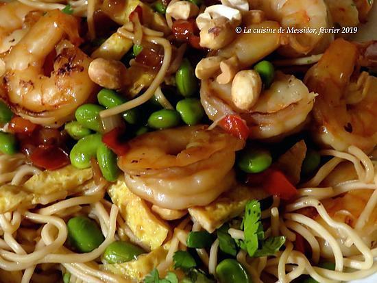 recette Sauté de crevettes, façon pad thaï +