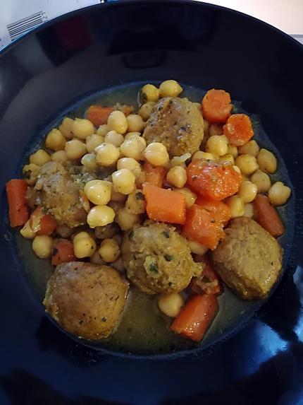 recette Tajine Pois chiches et boulettes