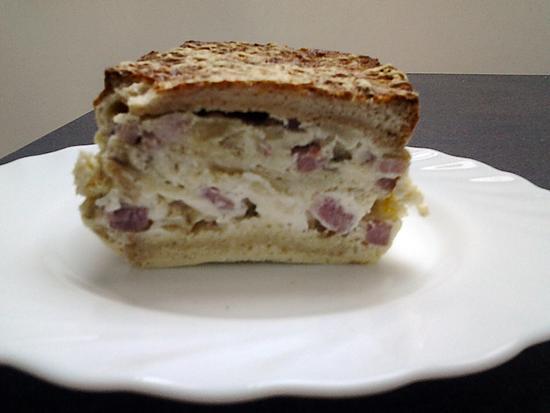recette croque-cake lardons et oignons