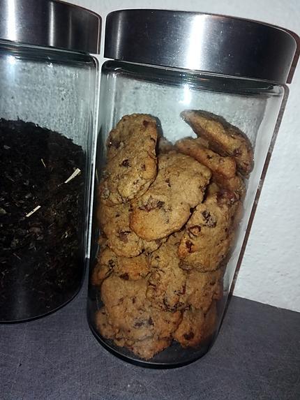 recette Cookies a la farine de châtaigne au marrons glacés et pépites de chocolat