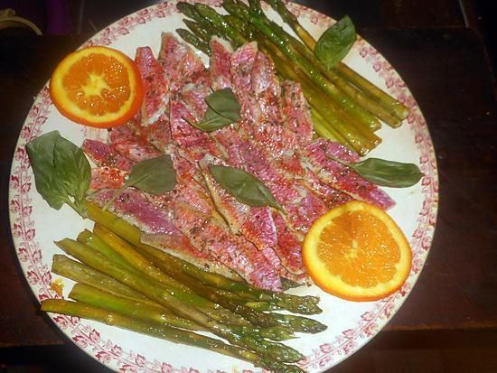 recette Filets de rouget aux asperges vertes à l orange