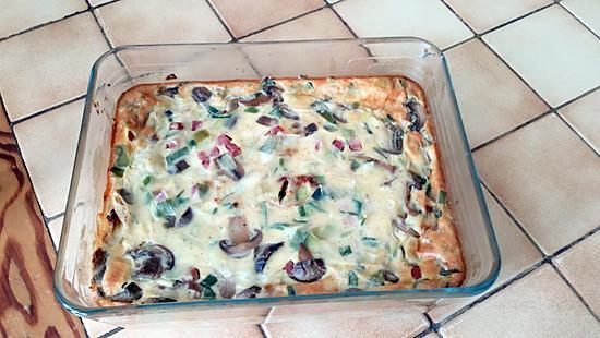 recette Quiche sans pâte poireaux, jambon, champignons