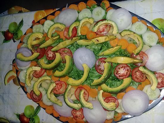 recette Salade  accompagnée de poulet plus sauce vinaigrette.