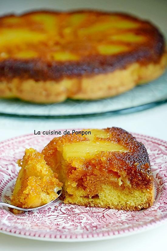 recette Gâteau aux poires caramélisées parfumées à la liqueur de poire Williams