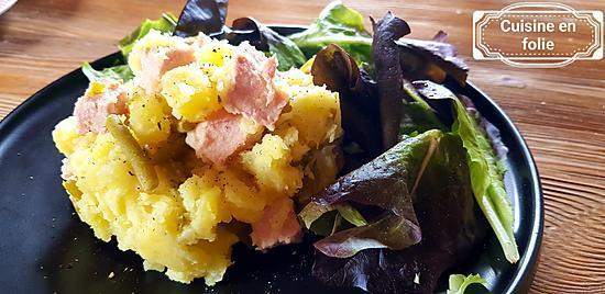 recette Pommes de terre fondantes au carré de  porc fumé et fromage apenzeler