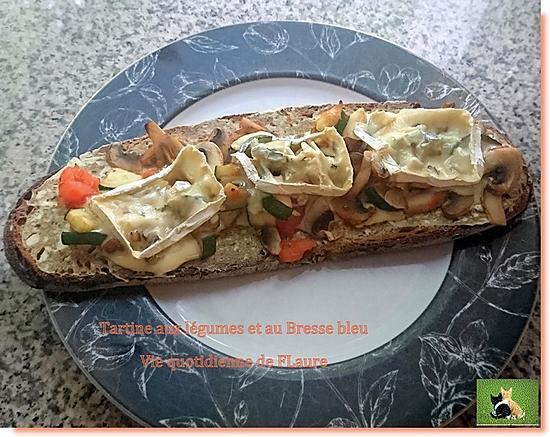 recette Tartines aux légumes et Bresse bleu