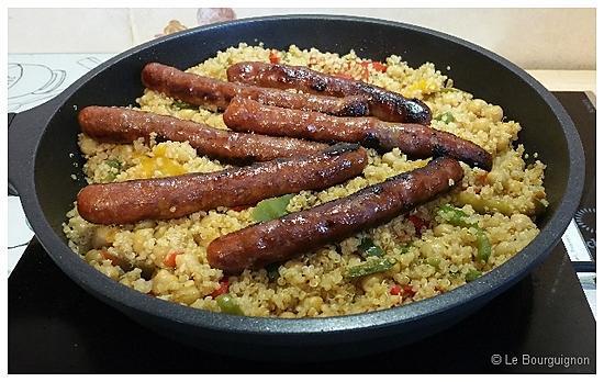 recette Merguez quinoa poivrons et pois chiches