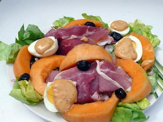 recette SALADE JAMBON ITALIEN ET MELON