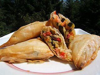 recette Triangles aux  légumes et  crevettes