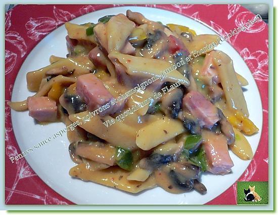 recette Pennes sauce asperge, poivrons et champignons, jambon et chorizo, (Cooking chef)