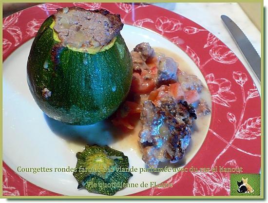 recette Courgette ronde farcie à la viande parfumée avec du raz el hanout (Cooking chef ou pas)
