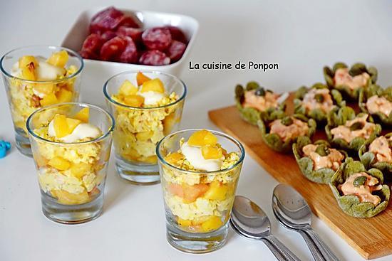 recette Apéro dînatoire: cups aux fruits de mer, verrines pêche-thon, verrines aux couleurs italiennes, verrines taboulé