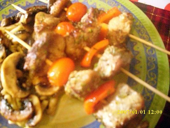 recette brochettes de veau marinées aux herbes