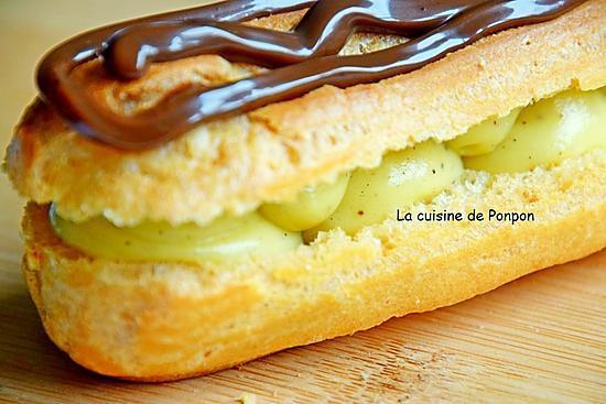 recette Éclair à la crème d'anis étoilé garni de confiture de lait au cacao et noisettes