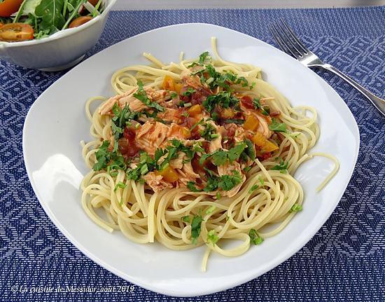 recette Spaghettis au poulet cuit, version express