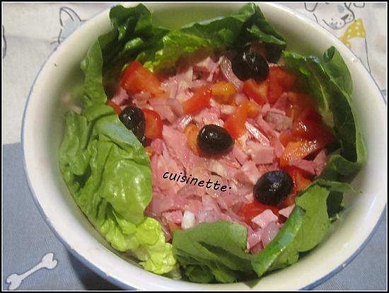 recette Salade au jambon,olives noires.tomates.