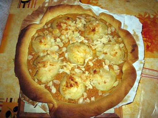 recette tarte aux poire à la crème de pain d'épices
