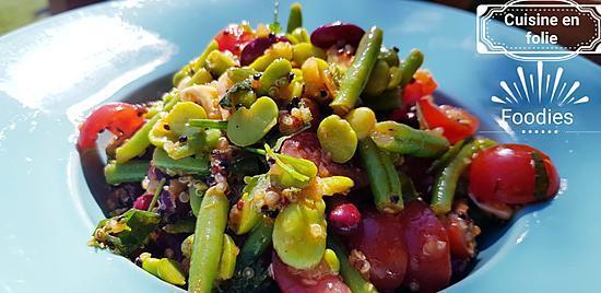 recette Salade de quinoa-feves-mozza-haricots rouges sauce tomate au vin blanc