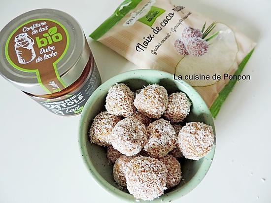 recette Boule à la noix de coco et confiture de lait, sans cuisson, super méga facile