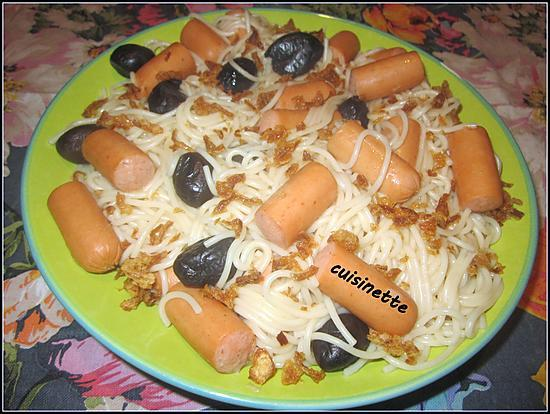 recette Spaghettis aux snacks et olives noires.