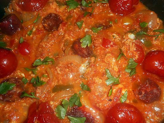 recette Piperade aux oeufs brouillés et chorizo