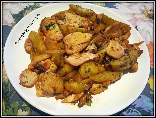 recette Potatos aux herbes,filet émincés de poulet.