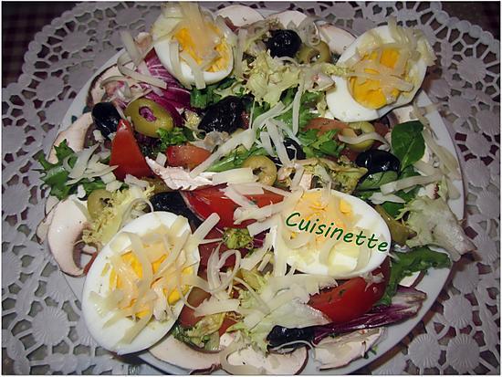 recette Salade aux milles couleurs & oeufs.