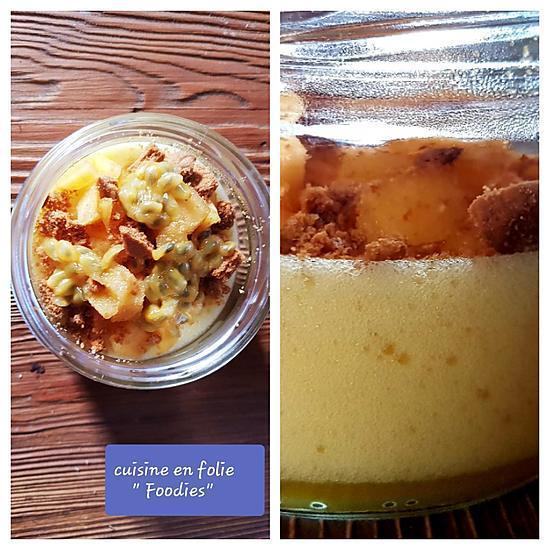 recette Mousse de mangue, kaki, fruit de la passion et spéculos