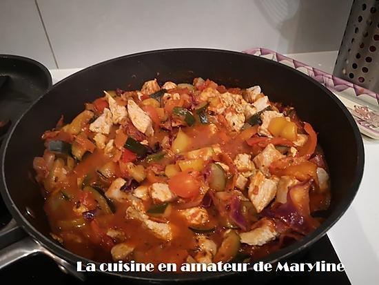 recette Chou rouge à la tomate et poulet